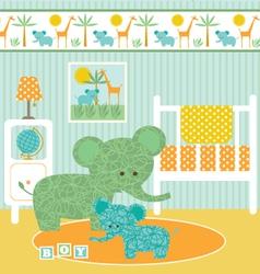 Elephant nursery vector