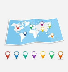 World map with geo position pins eps10 file vector
