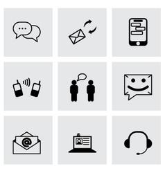 Black communication icons set vector