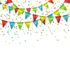 Buntings with confetti isolated on white vector