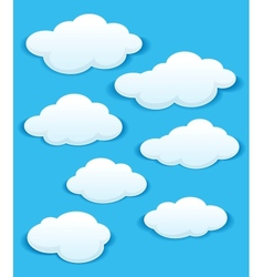 Set of white clouds in the blue sky vector