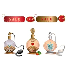 Perfume bottles with sale labels vector