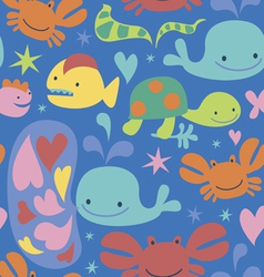 Sea cartoons seamless pattern vector