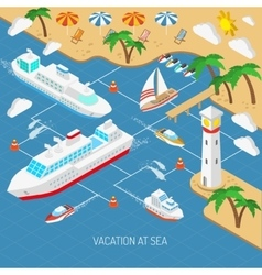 Sea vacation and ships concept vector