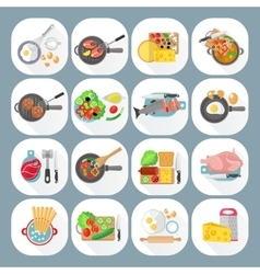 Home cooking flat icons set vector