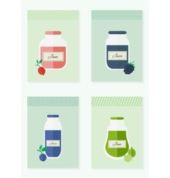 Jam and juice isolated cards in flat style vector