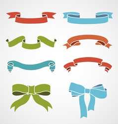 Full color set of vintage ribbons vector
