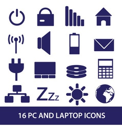 Laptop and pc indication icons eps10 vector