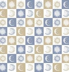 Sun and moon pattern vector
