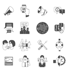 Internet forums concept icons set black vector