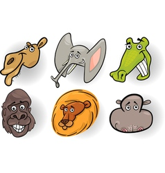 Cartoon wild animals heads set vector
