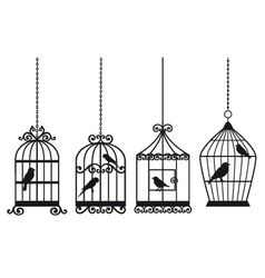 Vintage birdcages with birds vector