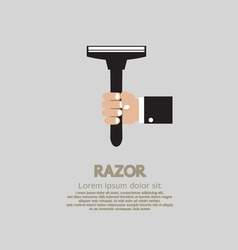 Hand holding a razor vector
