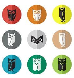 Group of owl in the circle vector