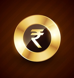 Ruppee golden coin design with shiny effects vector