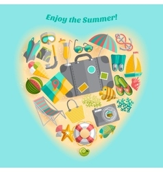 Summer vacation heart composition icon poster vector
