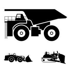Symbol and a bulldozer and dump truck vector