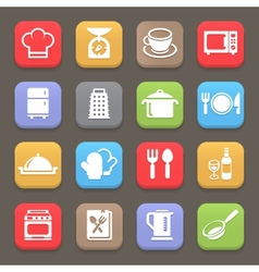 Kitchen cooking icons for web or mobile vector