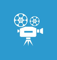 Video icon white on the blue background vector