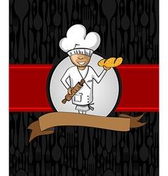 Baker cartoon menu design vector