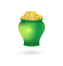 Pot with golden coins vector