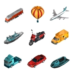 Transport low poly icons vector