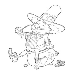 Elf leprechaun smoking pipe vector