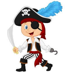 Cute cartoon pirate vector