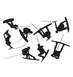 Silhouette wakeboarding vector