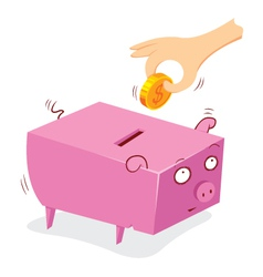 Putting money in to a pig bank vector