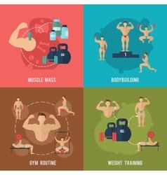 Bodybuilding flat set vector