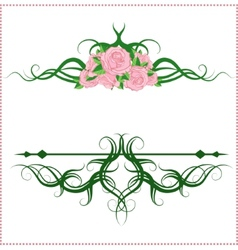 Calligraphic design elements with roses vector