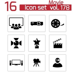 Black movie icons set vector