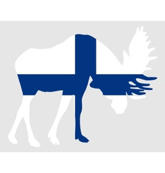 Rutting moose in finnish flag vector