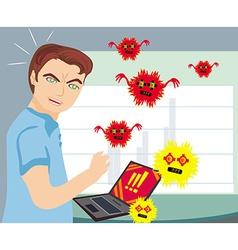 Computer virus attacking laptop vector