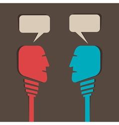 Two men communicate vector