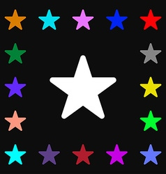 Favorite star icon sign lots of colorful symbols vector