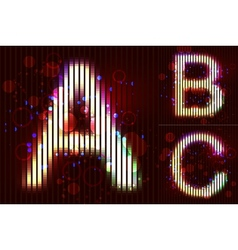 Neon light alphabet - abc vector