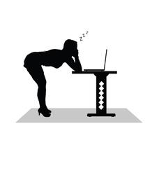 Girl sleep at the computer vector
