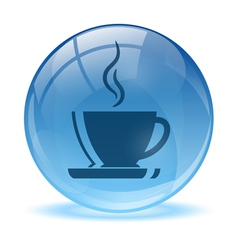 Blue abstract coffee icon vector
