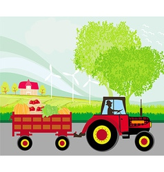 Man driving a tractor with a trailer full of vector