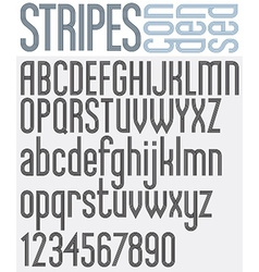 Stripes retro style graphic font vector