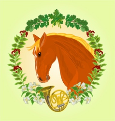The head red horse leaves and french horn vector
