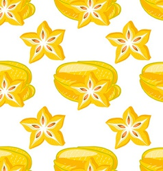 Seamless pattern with carambolas vector