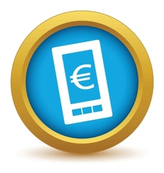 Gold euro phone icon vector