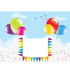 Balloons and banner in the sky vector