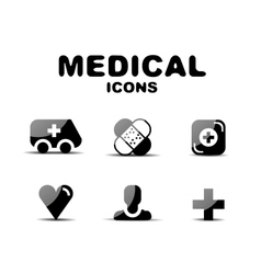Black glossy medical icon set vector