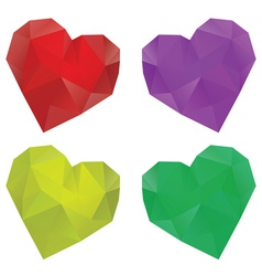 Polygonal hearts set2 vector