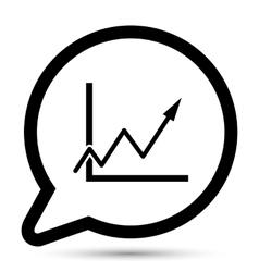 Bubble with graph arrow icon vector