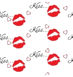 Seamless pattern with red color lips vector